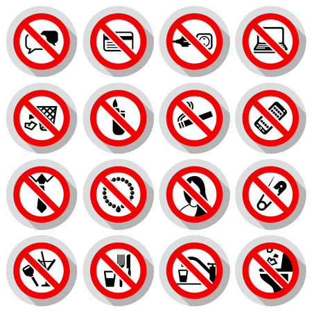 no talking: Set Prohibited symbols Office black signs on paper stickers, vector illustration