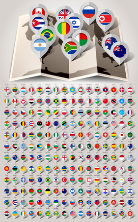 pointer emblem: Map world 192 markers with flags. Vector illustration