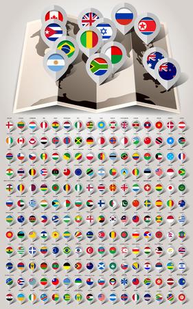 krajina: Mapa světa 192 značek s vlajkami. Vektorové ilustrace Ilustrace