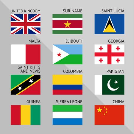 banderas del mundo: Banderas del mundo, ilustración vectorial plana.