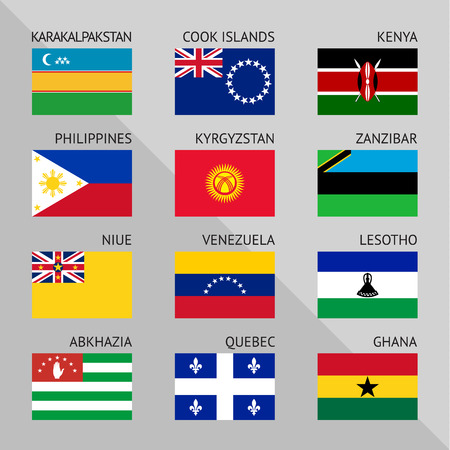 Flags of world, flat vector illustration.  Vector