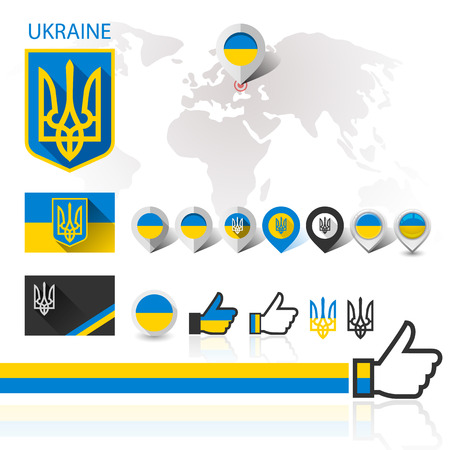 Flag and coat of arms Ukraine with World map, vector illustration Vector