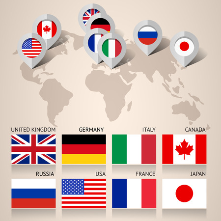 Set of Flags Countries Members of the G8 group, flat vector illustration Vector
