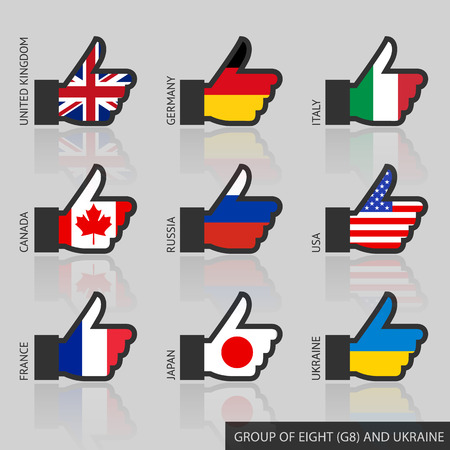 Set of G8 flags with reflection, like. Vector illustration