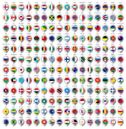 země: 192 značky z papíru s vlajkou na mapě, vektorové ilustrace