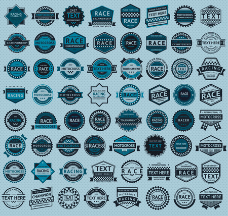 Racing badges - big blue set, vintage style, vector illustration Vector