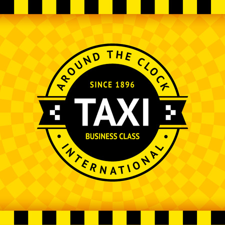 Taxi symbol with checkered background Vector