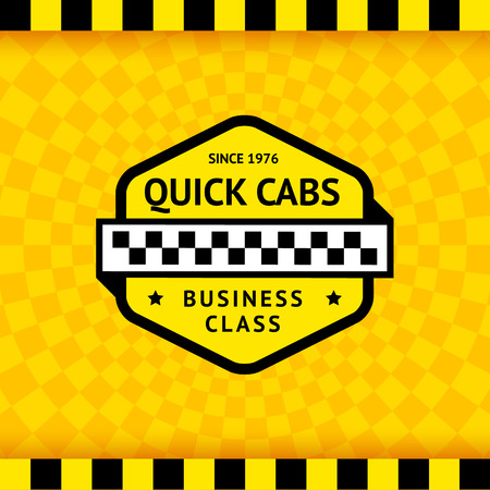 chequered ribbon: Taxi symbol with checkered background  Illustration