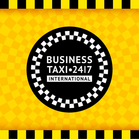 checker flag: Taxi symbol with checkered background Illustration