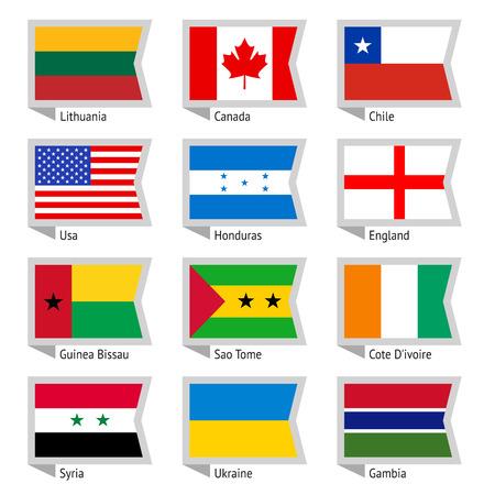 bandera honduras: Banderas del mundo, ilustración plana Set
