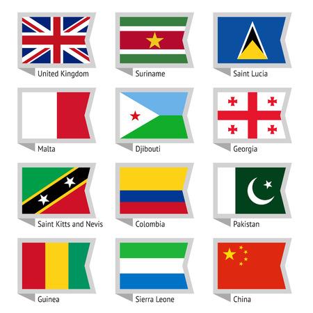Flags of world, flat illustration  Set Vector