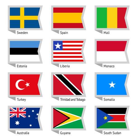 mali: Flags of world, flat illustration  Set