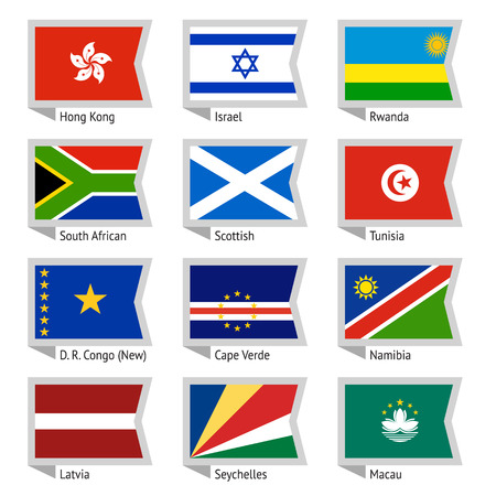 Flags of world, flat illustration  Set Vector