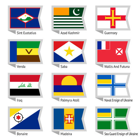 Flags of world, flat illustration  Set