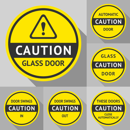 automatic doors: Stickers and Labels on the door illustration
