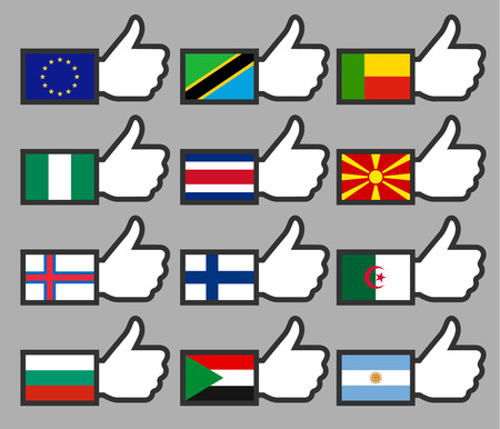 Flags in the Thumbs up-03, flat illustration Vector