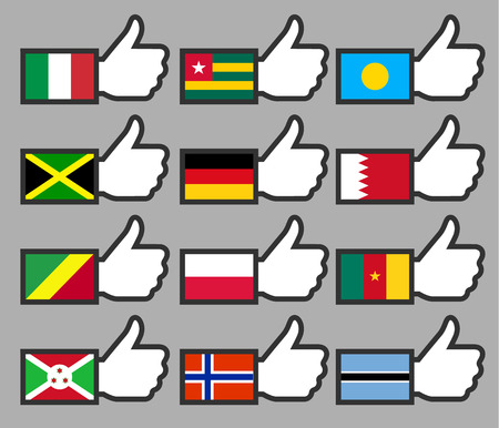 Flags in the Thumbs up-06, flat illustration Vector