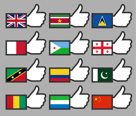 Flags in the Thumbs up-07, flat illustration Vector