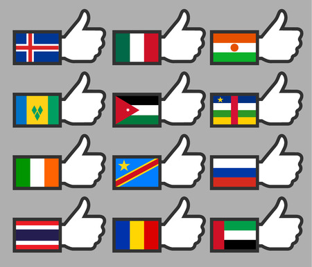 Flags in the Thumbs up-08, flat illustration Vector