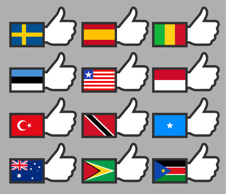 trinidad: Flags in the Thumbs up-09, flat illustration