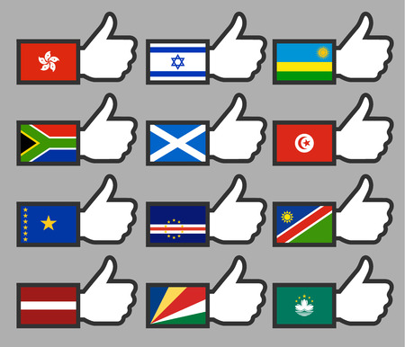 verde: Flags in the Thumbs up-10, flat illustration