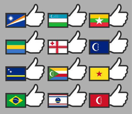 Flags in the Thumbs up-11, flat illustration Vector