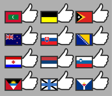 Flags in the Thumbs up-12, flat illustration Vector