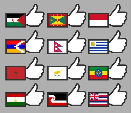 sahrawi arab democratic republic: Flags in the Thumbs up-15, flat illustration