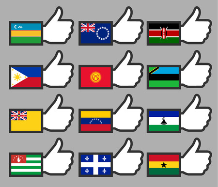Flags in the Thumbs up-16, flat illustration Vector