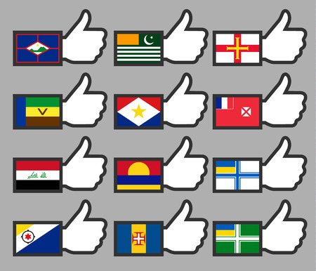 Flags in the Thumbs up-13, flat illustration Vector