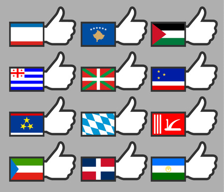 Flags in the Thumbs up-18, flat illustration Vector