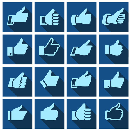 Like, set icons on blue squares, hands with shadow. Vector illustration