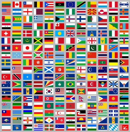 216 banderas de todo el mundo, ilustración vectorial plana Vectores