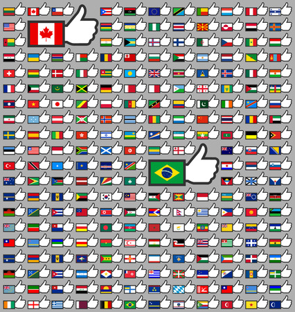 216 Flags in the Thumbs up, flat vector illustration Vector