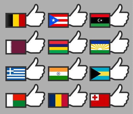 bandera de puerto rico: 216 Banderas en el up-02, ilustración vectorial plana Thumbs Vectores