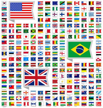 nacional: 219 banderas, ilustración vectorial plana Vectores