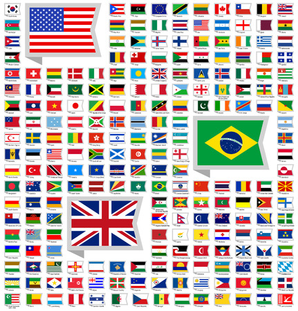 world flags: 219 flags, flat vector illustration