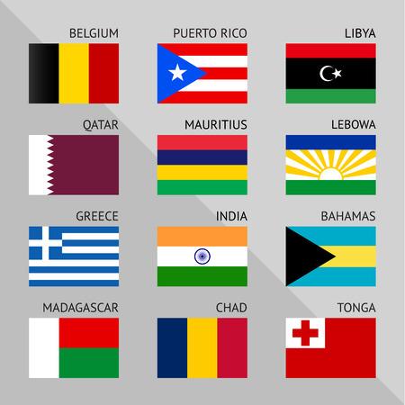 tonga: Flags of world 02, flat vector illustration