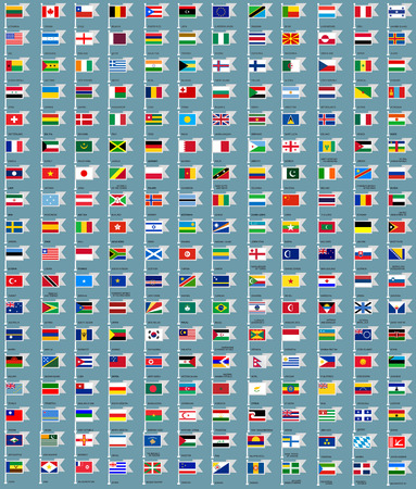 216 Flags set all, flat vector illustration Vector