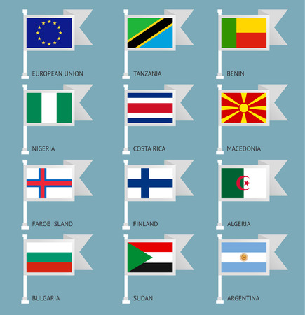 sudan: Flags of the world, flat vector illustration. Set number 03