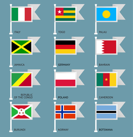 Flags of the world, flat vector illustration. Set number 06 Vector