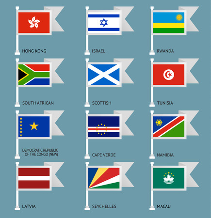 number 10: Flags of the world, flat vector illustration. Set number 10 Illustration