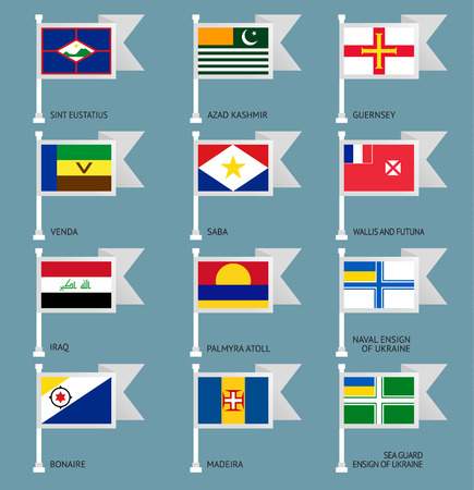 Flags of the world, flat vector illustration. Set number 17