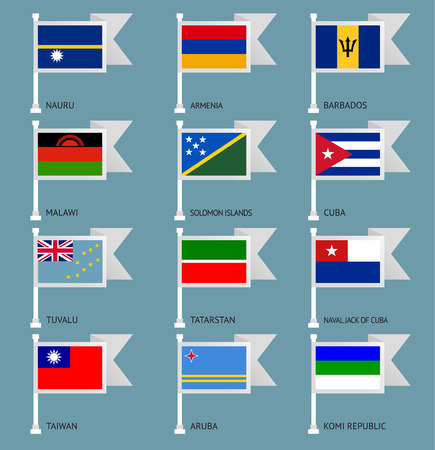 number 13: Flags of the world, flat vector illustration. Set number 13