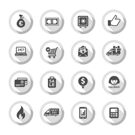 Set gray flat buttons, symbols with shadow. Vector illustration  Vector