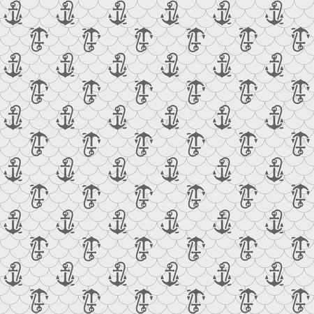 ancre marine: Les modèles sans couture, des ancres gris. illustrations vectorielles, des silhouettes isolées sur fond gris