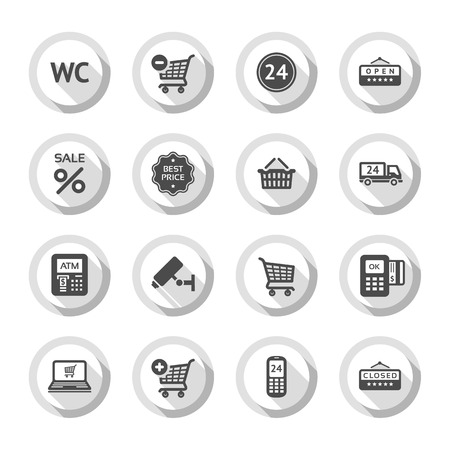 token: Set gray flat buttons, symbols with shadow. Vector illustration