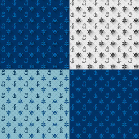 Seamless patterns set, anchors and steering wheel, vector illustration  Vector