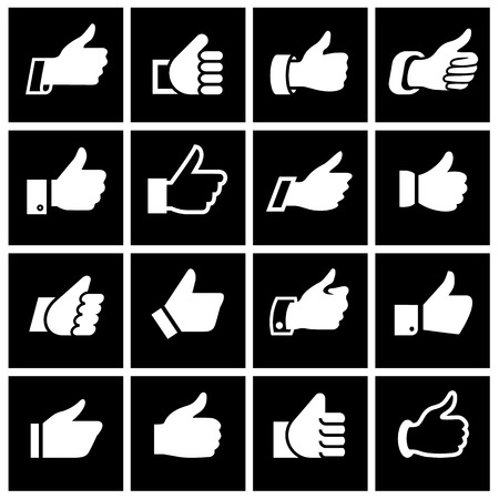 caller: Like, set icons on black squares. Vector illustration