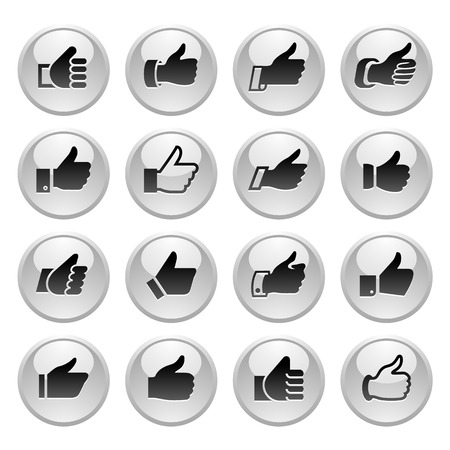 caller: Like, set icons on round gray button. Vector illustration